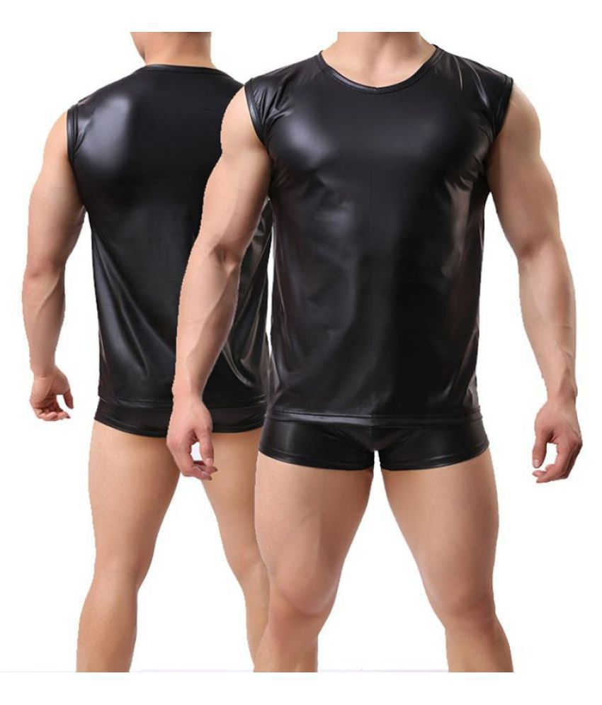 c495b804 Fashion Men's Faux Leather Sexy Vest Sleeveless Tank Top Fetish Muscle Shirt  ...