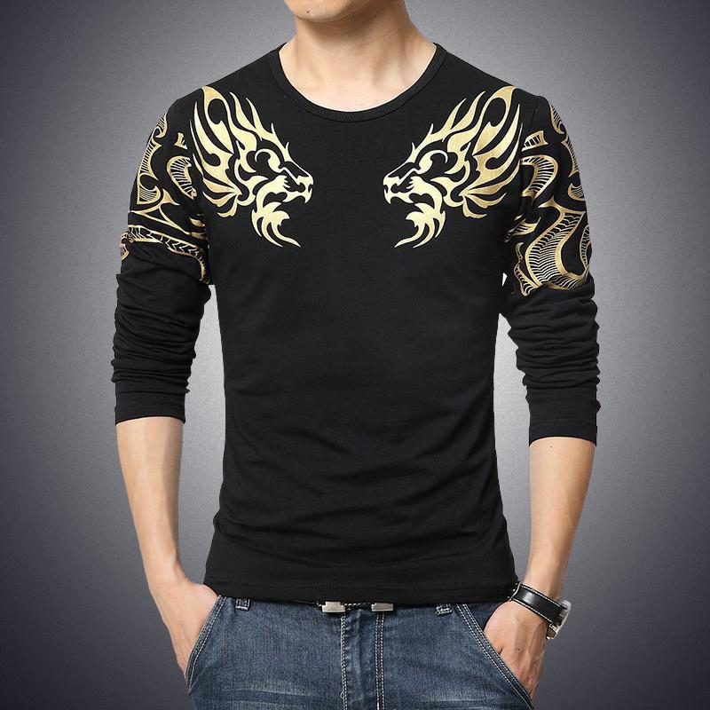 Mens Long Sleeve O Neck T-shirt Fashion Casual Solid Color Dragon Printed T Shirts
