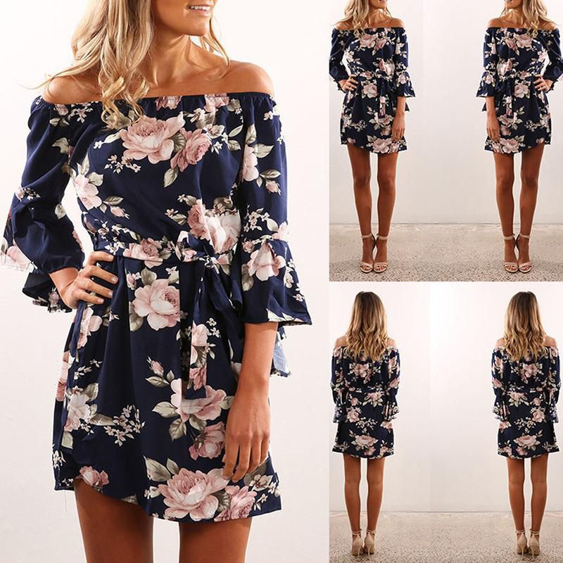fd5dcb685 New Women Summer Off Shoulder Floral Short Mini Dress Ladies Beach Party  Dresses ...