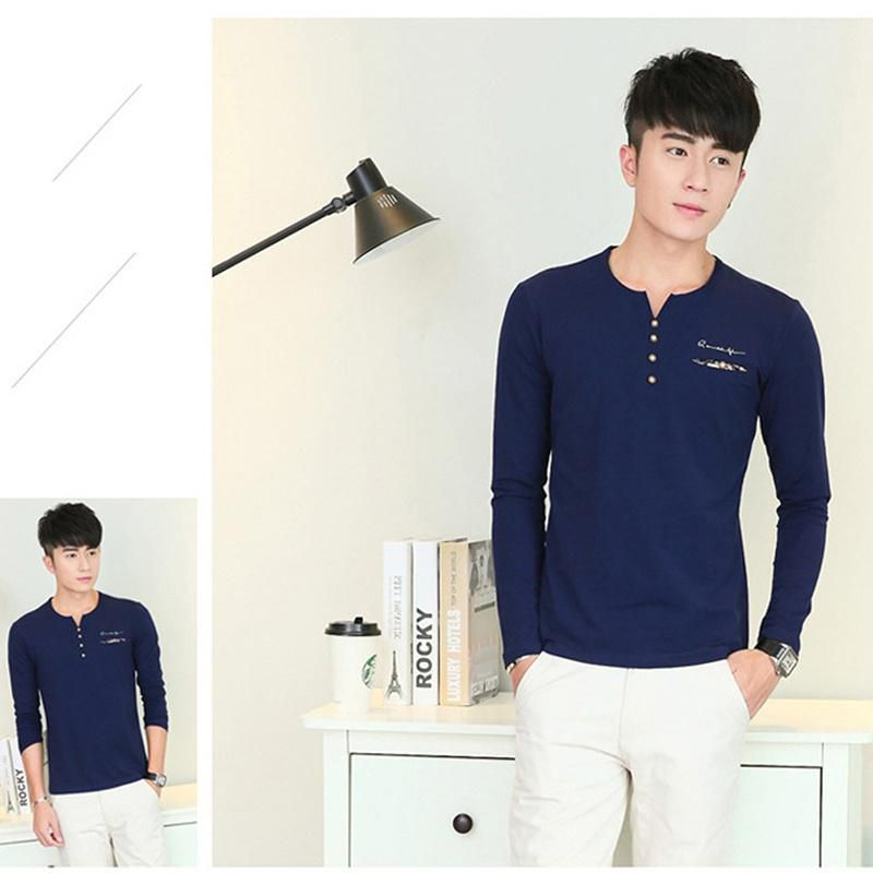 The New Fashion Men's Long-sleeved T-shirt Decorated Solid Color Youth Trend Casual Wear Men's Clothing