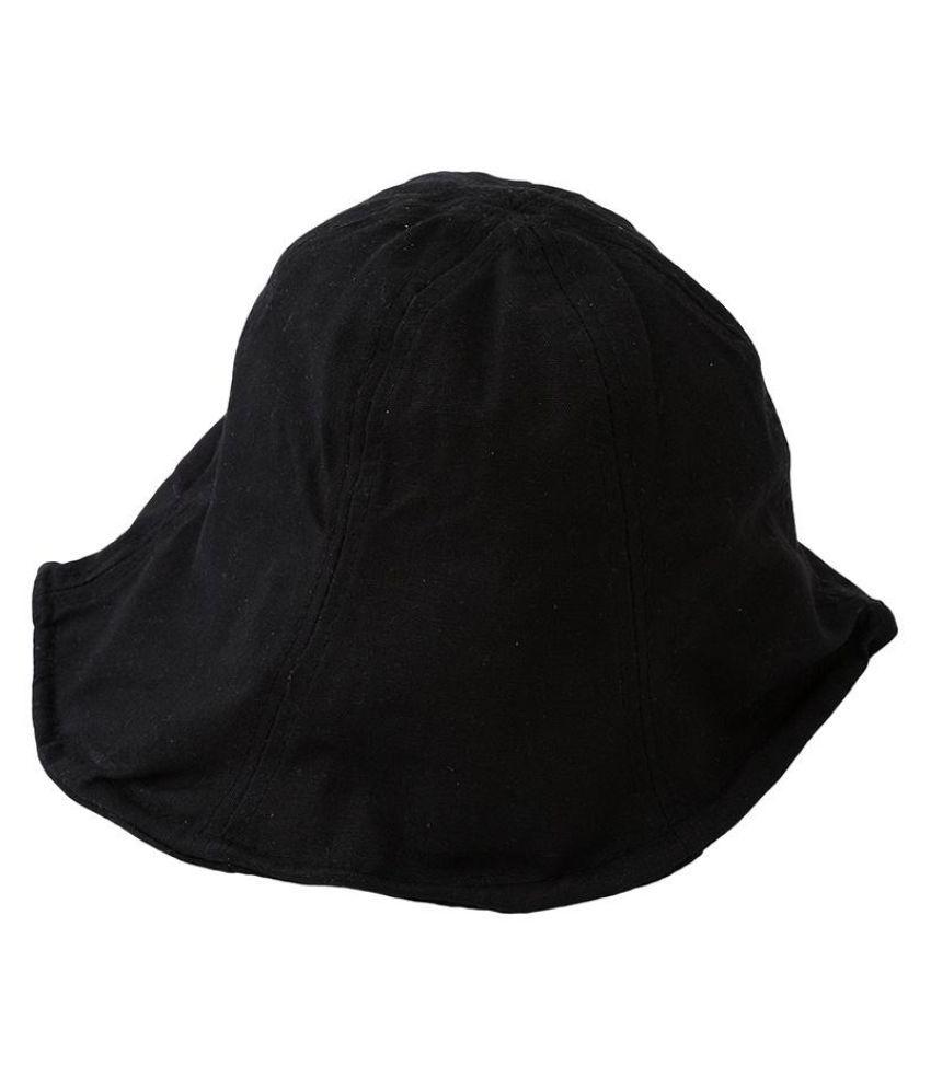 3f185c948b9 ... Unisex Leisure Black Bucket Hat with soft iron wire Sun Solid Cap  Bucket Hat ...
