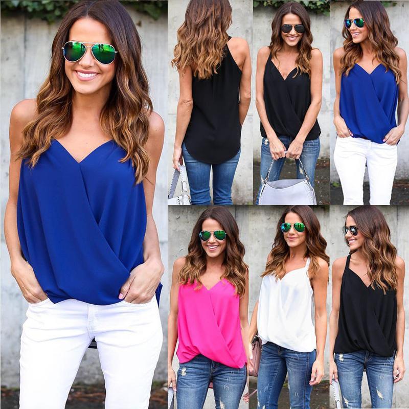 8feb84e09 ... Womens Summer Chiffon Sleeveless Vest Shirt Tops Blouse Ladies Loose  Tops ...