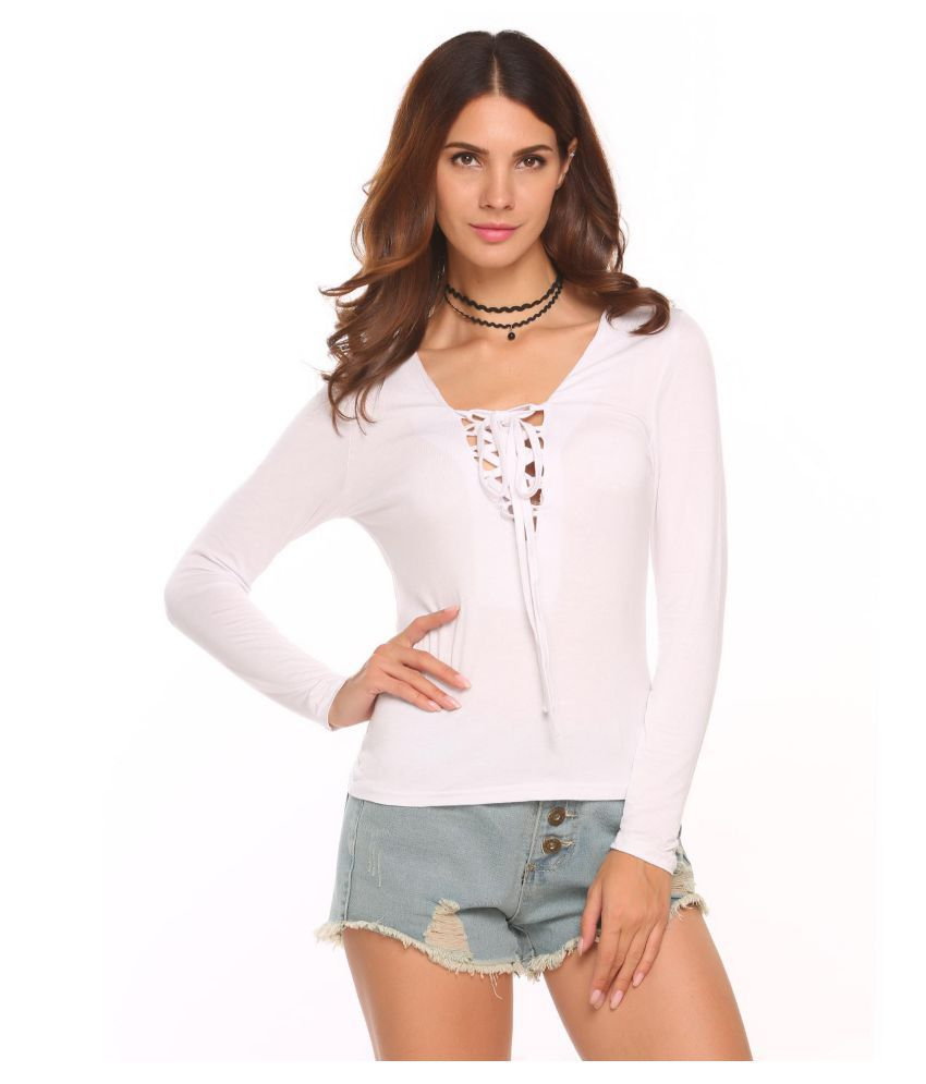 f39501a50fa6b2 Buy Women Deep V-Neck Long Sleeve Lace Blouse Tops Online at Best Prices in  India - Snapdeal