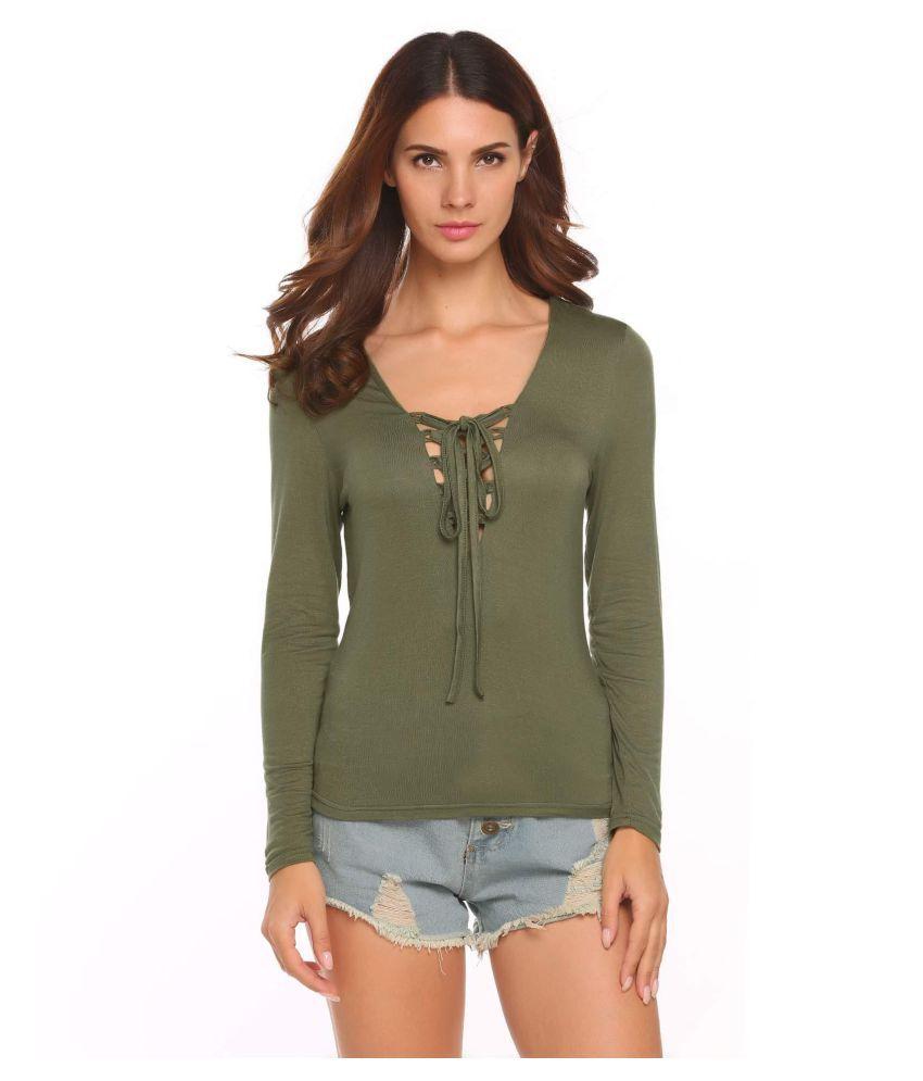 695abd7d5974ab Buy Women Deep V-Neck Long Sleeve Lace Blouse Tops Online at Best ...