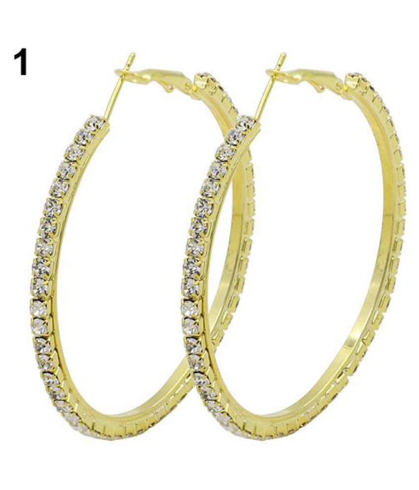 Women's 1 Pair Fashion Crystal Earrings Rhinestone Hoop Circle Dangle Jewelry