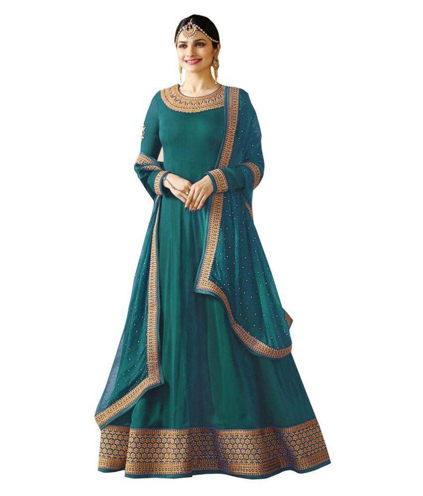 77276096c221 YOYO FASHION Blue Georgette Anarkali Gown Semi-Stitched Suit - Buy YOYO  FASHION Blue Georgette Anarkali Gown Semi-Stitched Suit Online at Best  Prices in ...