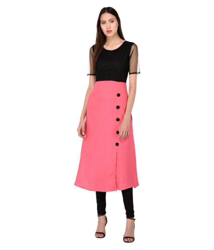 Triraj Crepe Pink Regular Dress