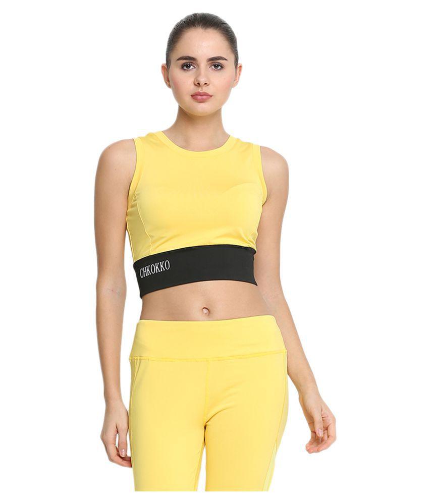 CHKOKKO Yoga Pushup Sports Gym Strechable Crop Top for Women