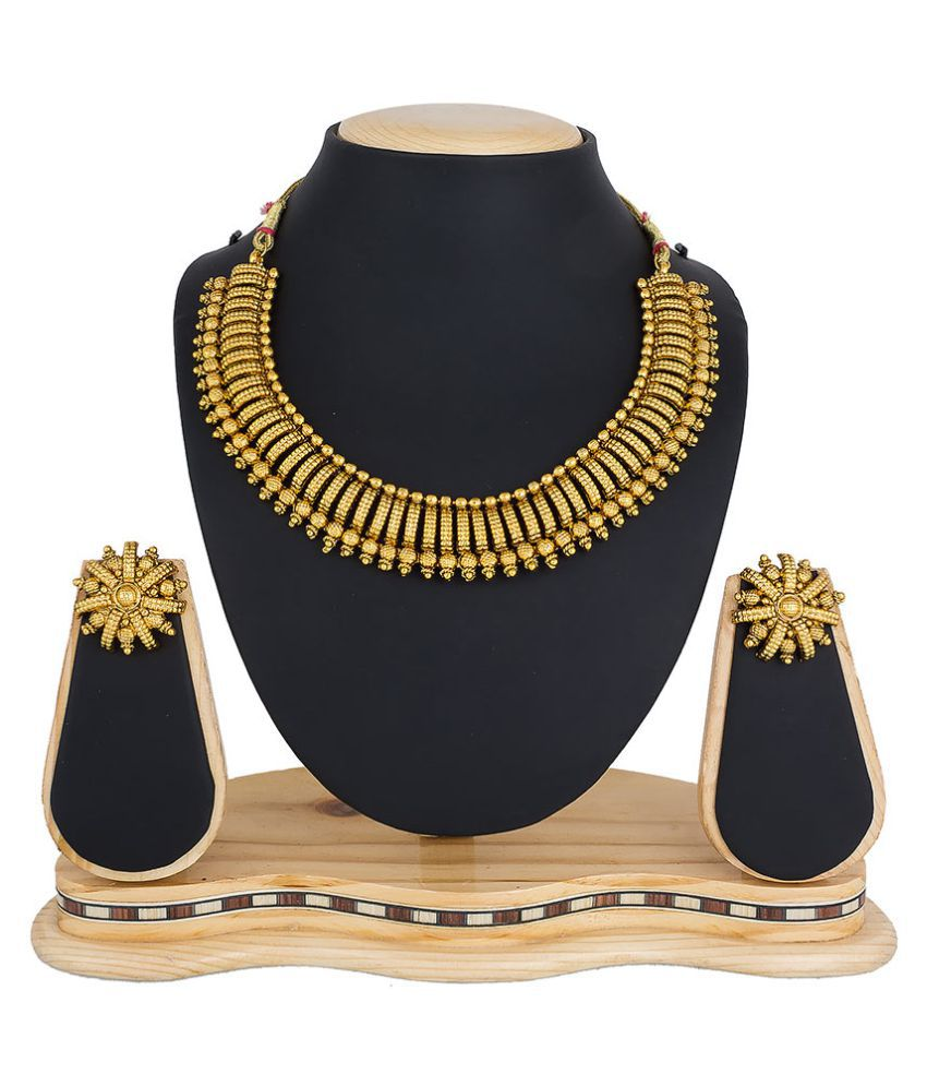 e835226d6208 ... Aadita Fashion Jewellery Alloy Golden Contemporary Contemporary Fashion  Gold Plated Necklaces Set ...
