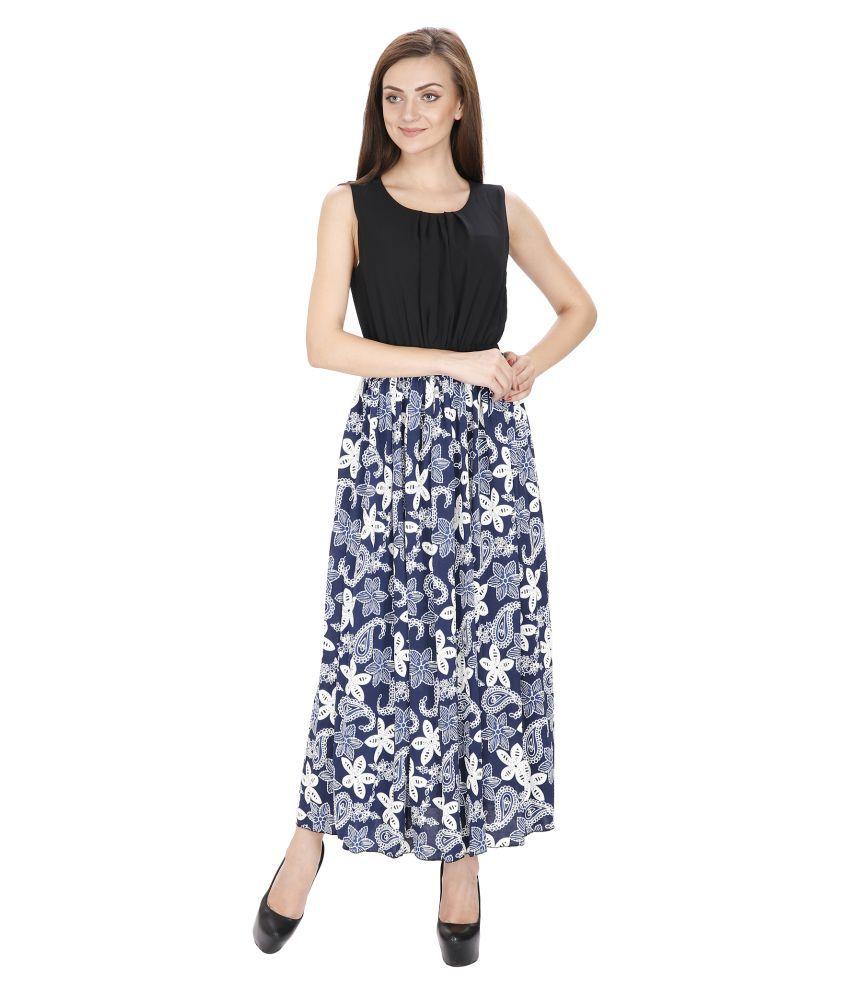Ritu Designs Cotton Lycra Navy Regular Dress