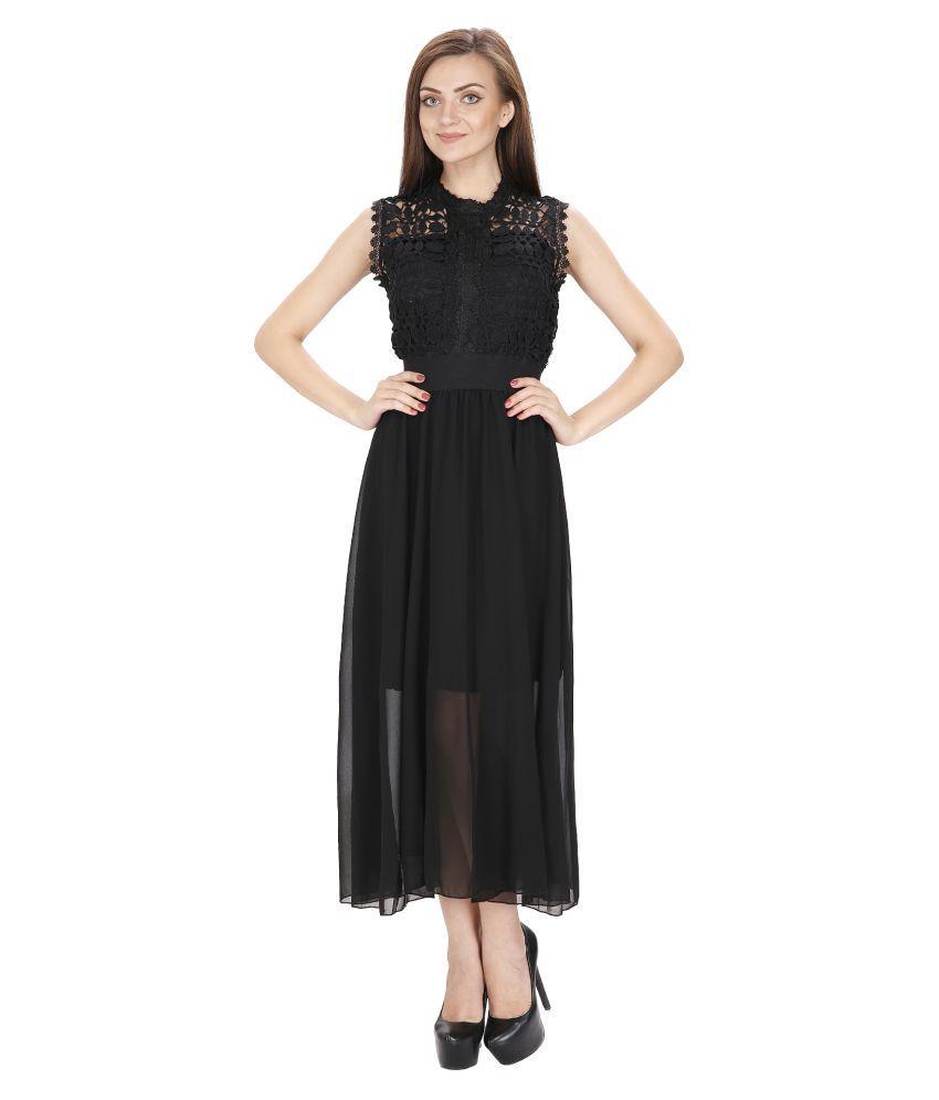 Ritu Designs Georgette Black Regular Dress