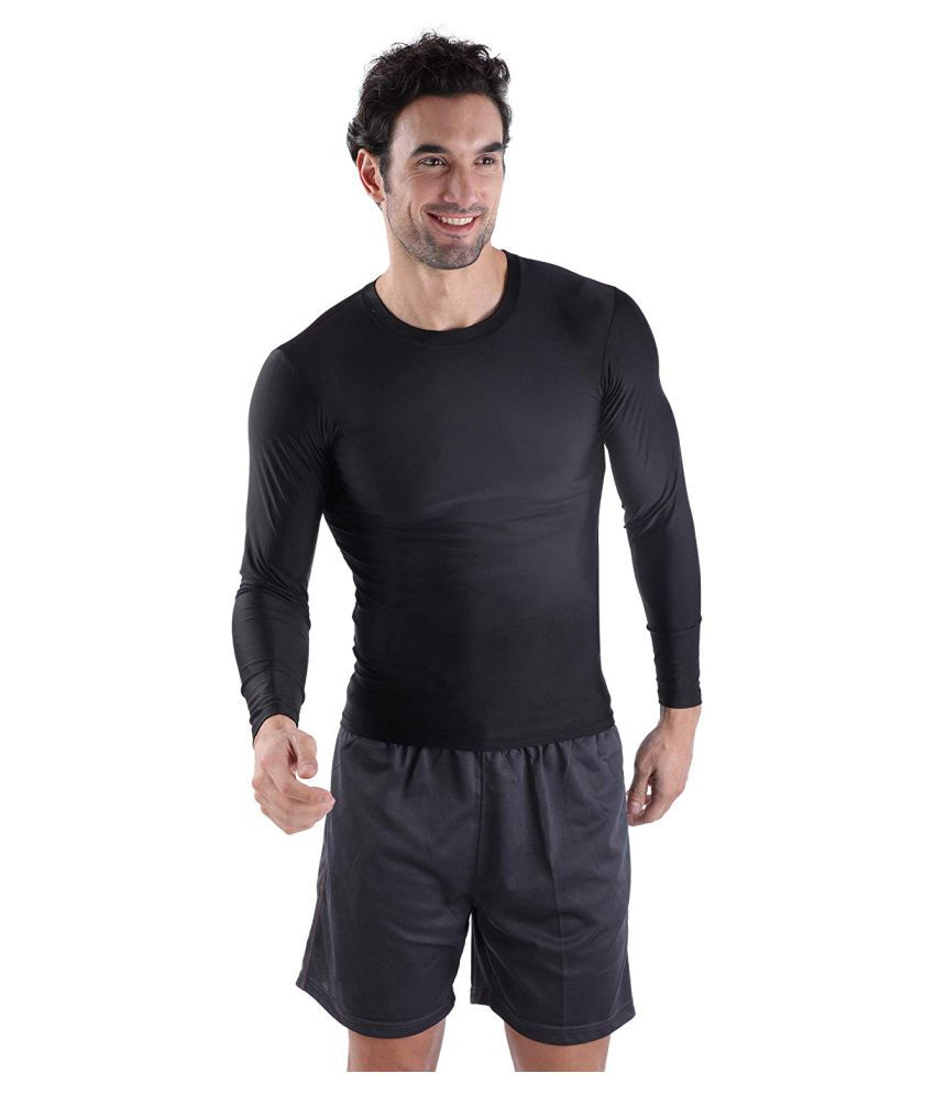 Spinway Pro Compression Men's Nylon,Black Inner Wear Full Sleeves T-Shirts -for Fitness,Gym,Sports|Medium