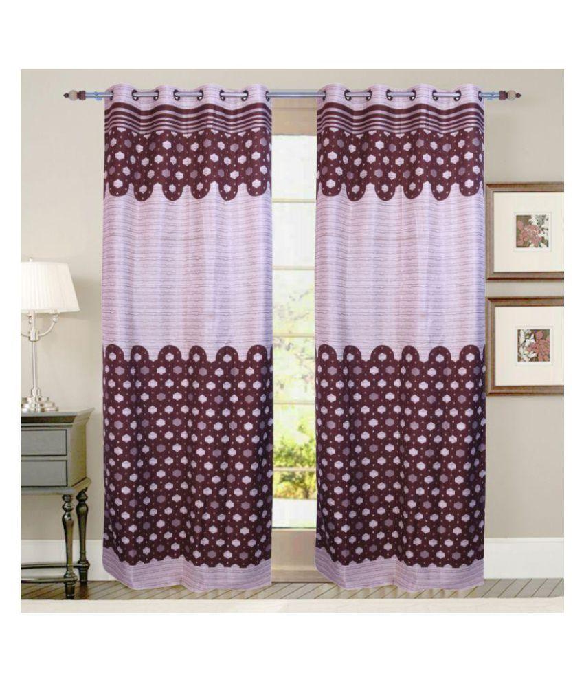 PardaOnline Single Long Door Semi-Transparent Eyelet Blends Curtains Brown