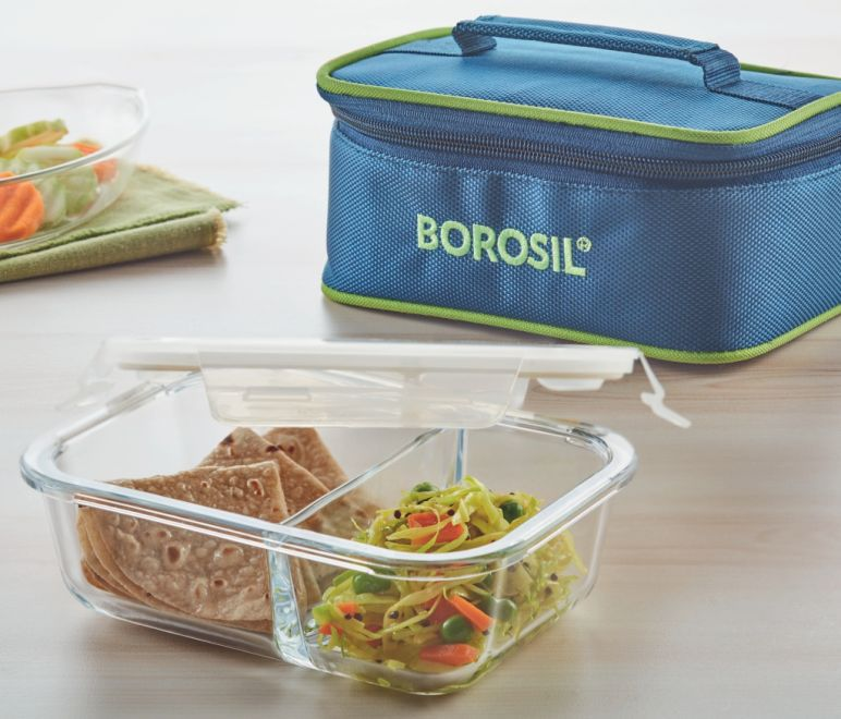 Borosil Light Blue Glass Lunch Box