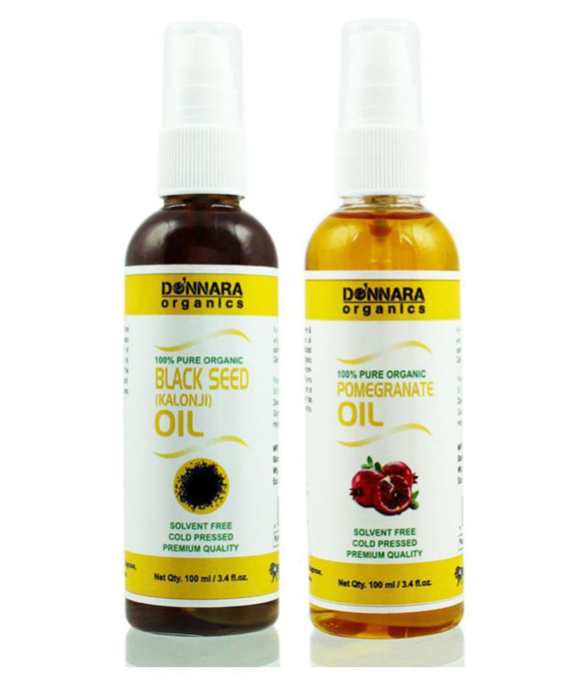 Donnara Organics 100% Pure Blackseed & Pomegranate oil 200 ml Pack of 2