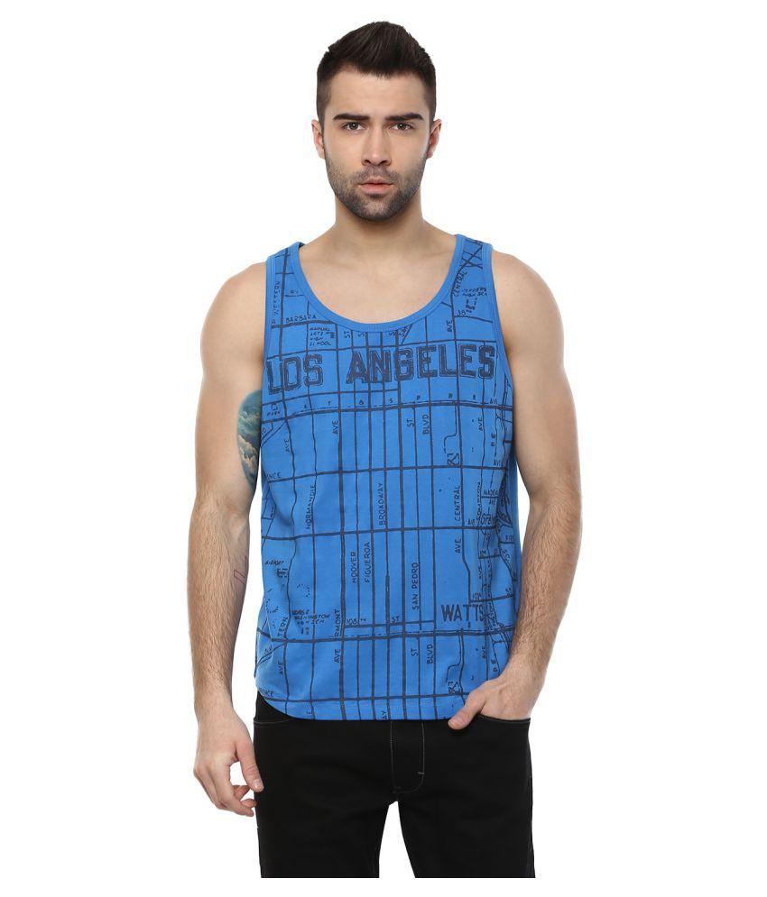 Elaborado Blue Sleeveless T-Shirt