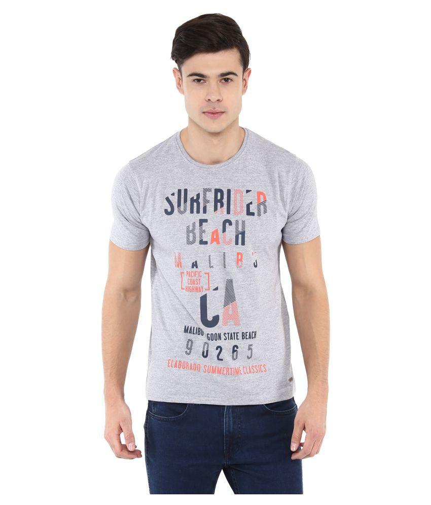Elaborado Grey Half Sleeve T-Shirt