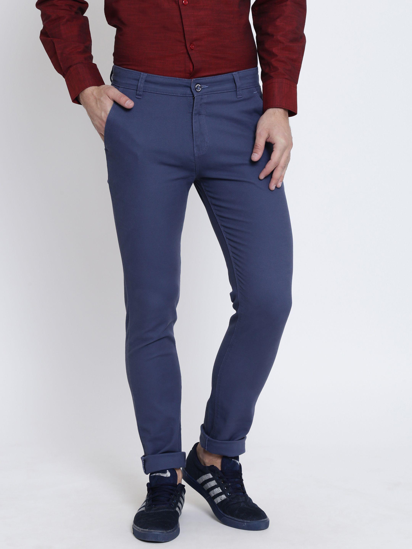 Crimsoune Club Navy Blue Slim -Fit Flat Trousers