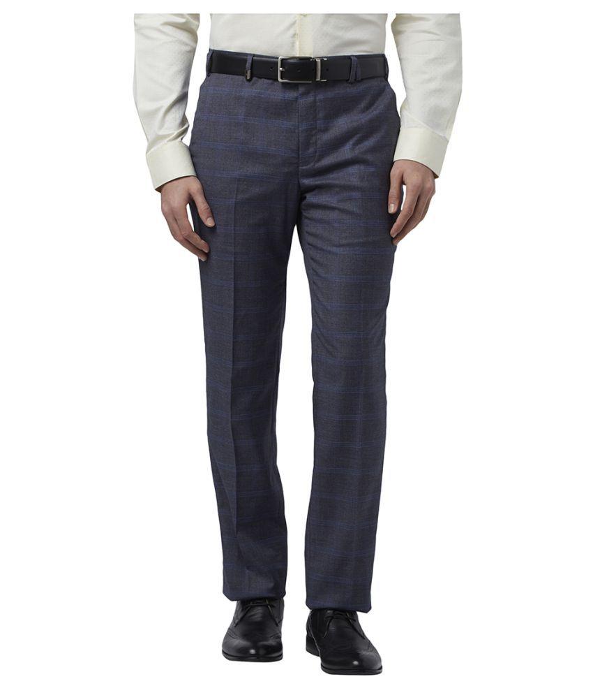 Colorplus Grey Slim -Fit Flat Trousers