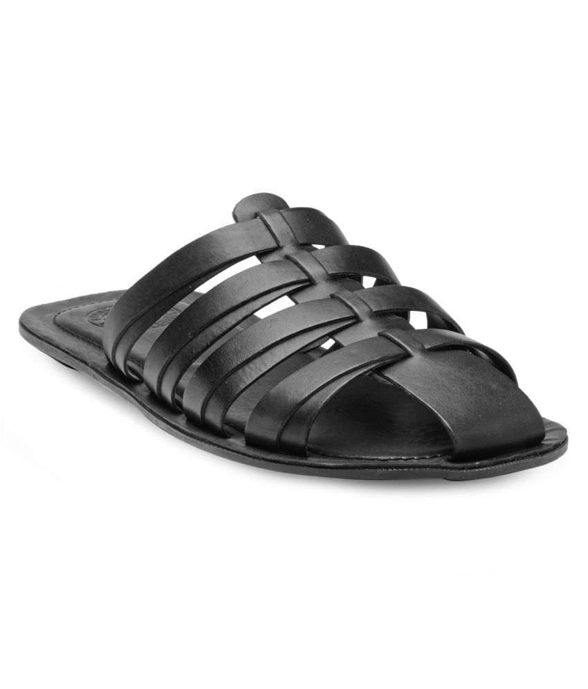 Franco Leone Black Leather Slippers