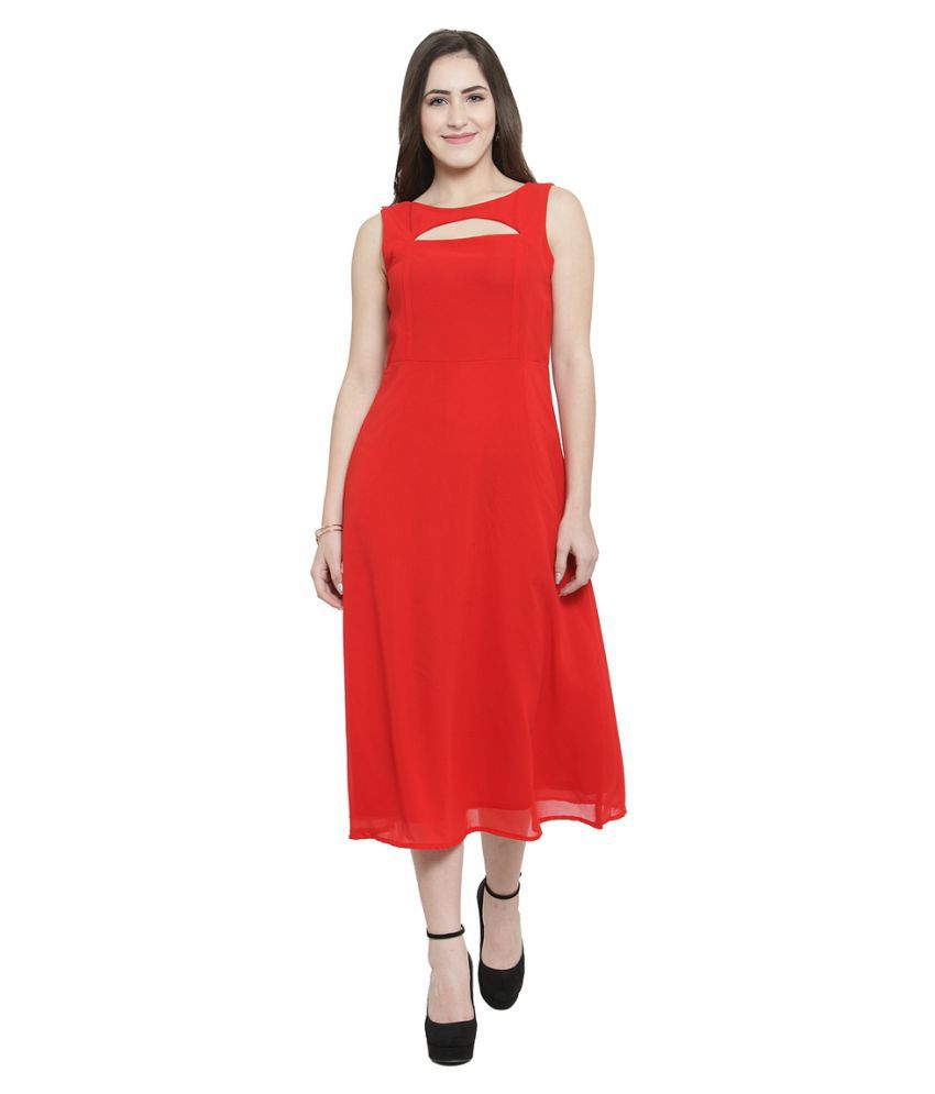 Color Cocktail Georgette Red Fit And Flare Dress