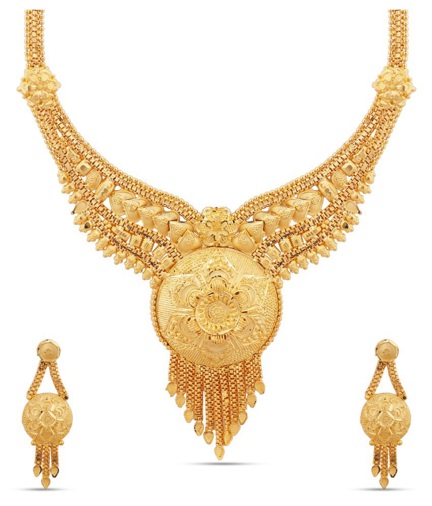 Kalyani Covering Brass Golden Collar Traditional 22kt Gold Plated Necklaces Set