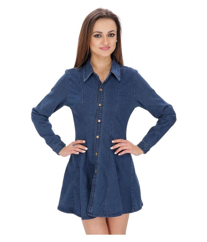 Ritu Designs Denim Blue A- line Dress