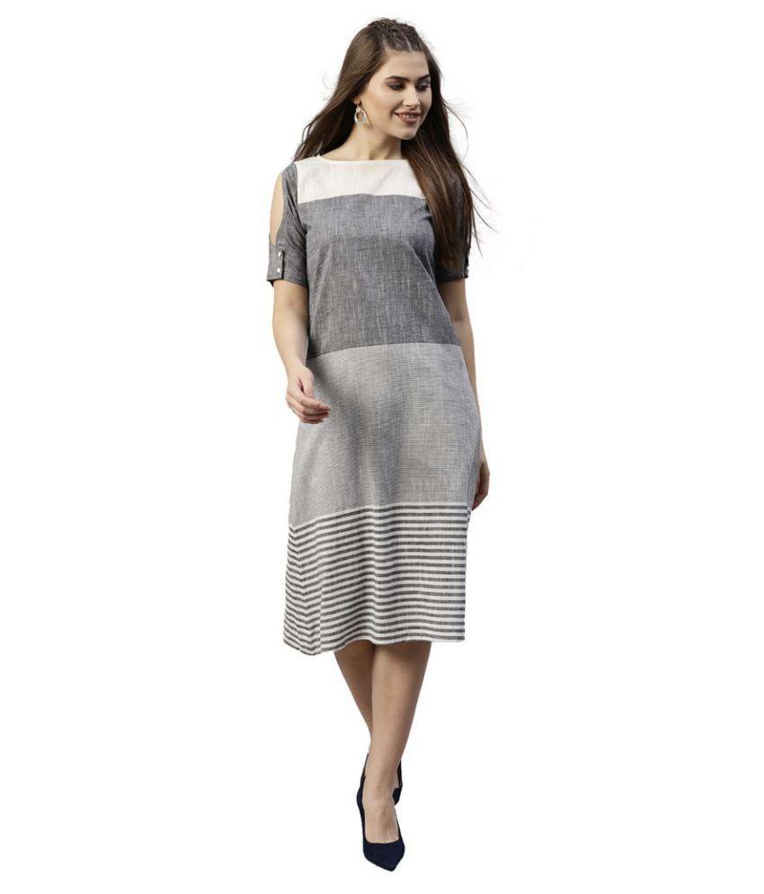 Jaipur Kurti Cotton Grey A- line Dress