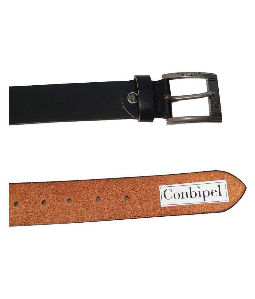 sale retailer d1bb5 29737 conbipel Black Leather Formal Belt - Pack of 1: Buy Online ...