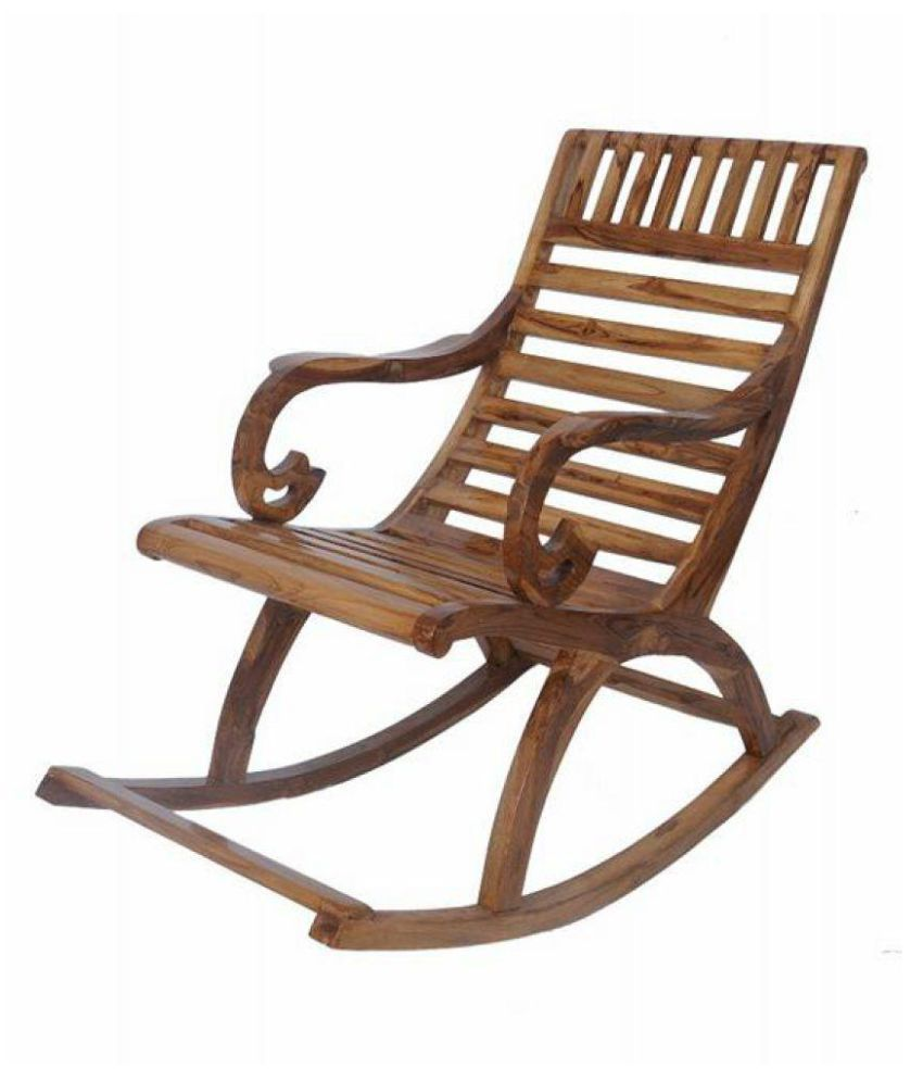 teak wood rocking chair in natural finish by confortofurnishing rh snapdeal com