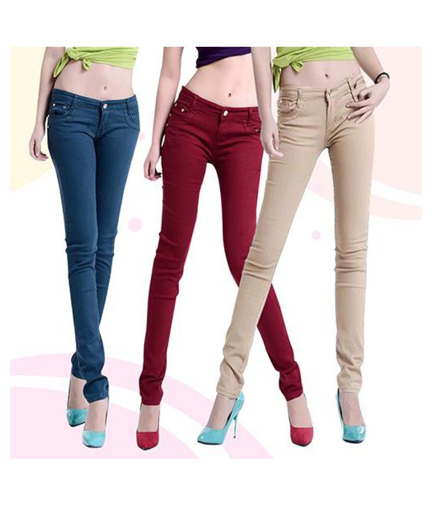 d543eb3cd ... Women Candy Color Casual Skinny Jeggings Pencil Pants Stretchy Jeans  Trousers ...