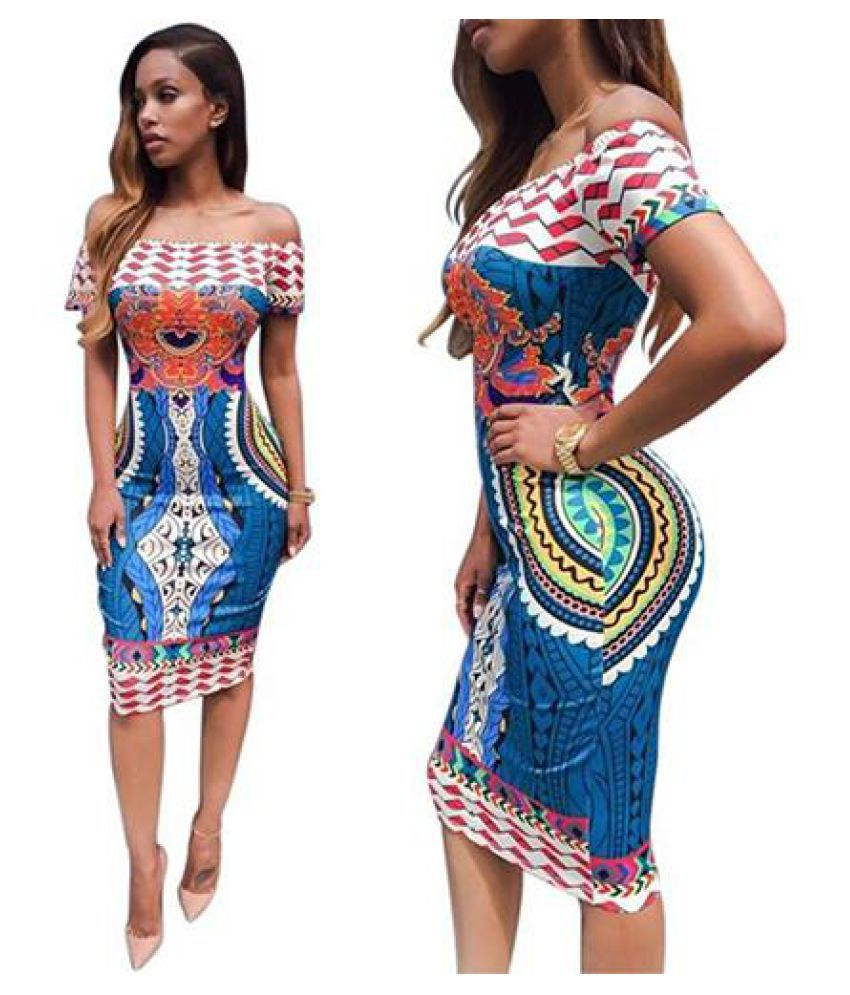 1ba49f4b481 ... Women Sexy Off Shoulder Print Bodycon Short Sleeve Knee-Length Party  Dress ...