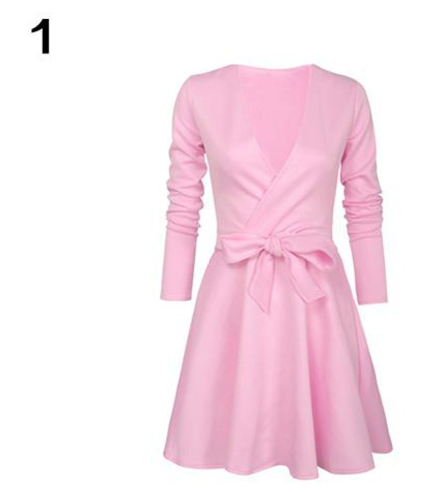 9b1814d3a9 Women Sexy Deep V-Neck Long Sleeve Bowknot Pleated Cocktail Party Mini Dress  - Buy Women Sexy Deep V-Neck Long Sleeve Bowknot Pleated Cocktail Party Mini  ...