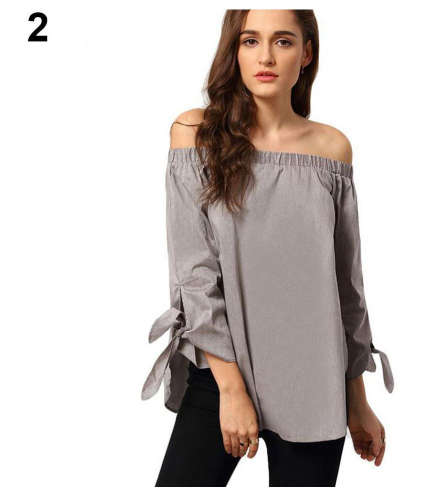 bc2bb900655ff Buy Women Summer Off Shoulder Long Sleeve Bowknot Cuff T-shirt Loose Blouse  Online at Best Prices in India - Snapdeal