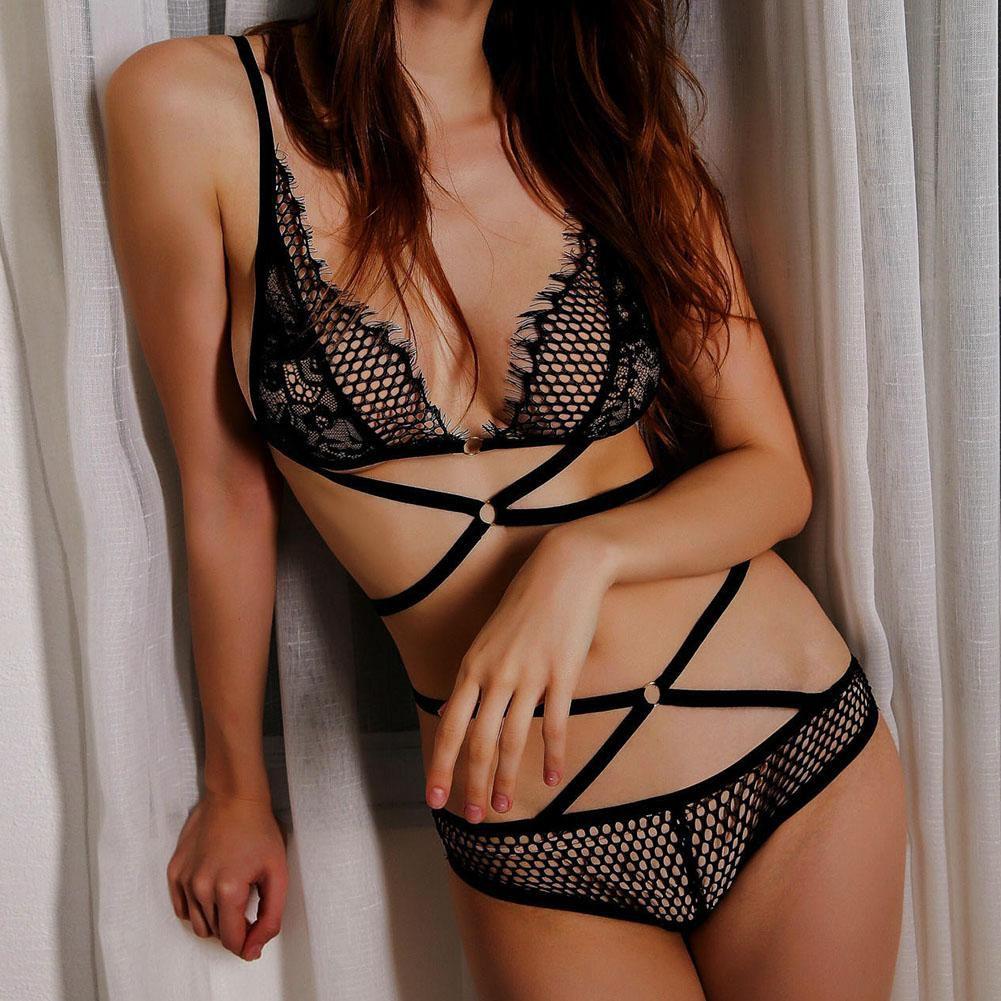8fc9c89e03a8 ... Women's Sexy Lace Elastic Strappy Hollow Bandage Bras Panties Underwear  Set