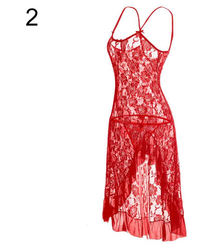 4f35524159 Buy Women s Sexy Ruffles Spaghetti Strap Slim Fit Lace Sleepwear Nightwear Dress  Online at Best Prices in India - Snapdeal
