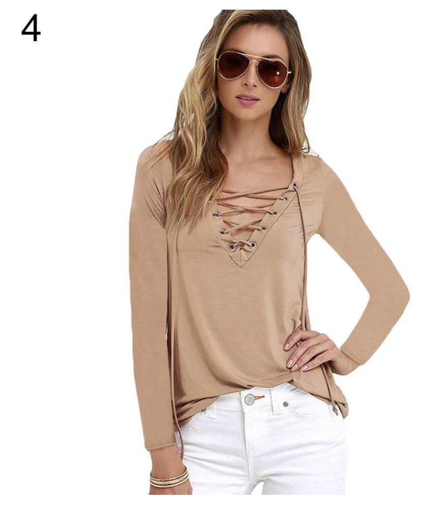 32adee9d3b9168 Buy Women Sexy Plain Deep V Neck Cross Eyelet Lace Up Long Sleeve Blouse  Top Shirt Online at Best Prices in India - Snapdeal