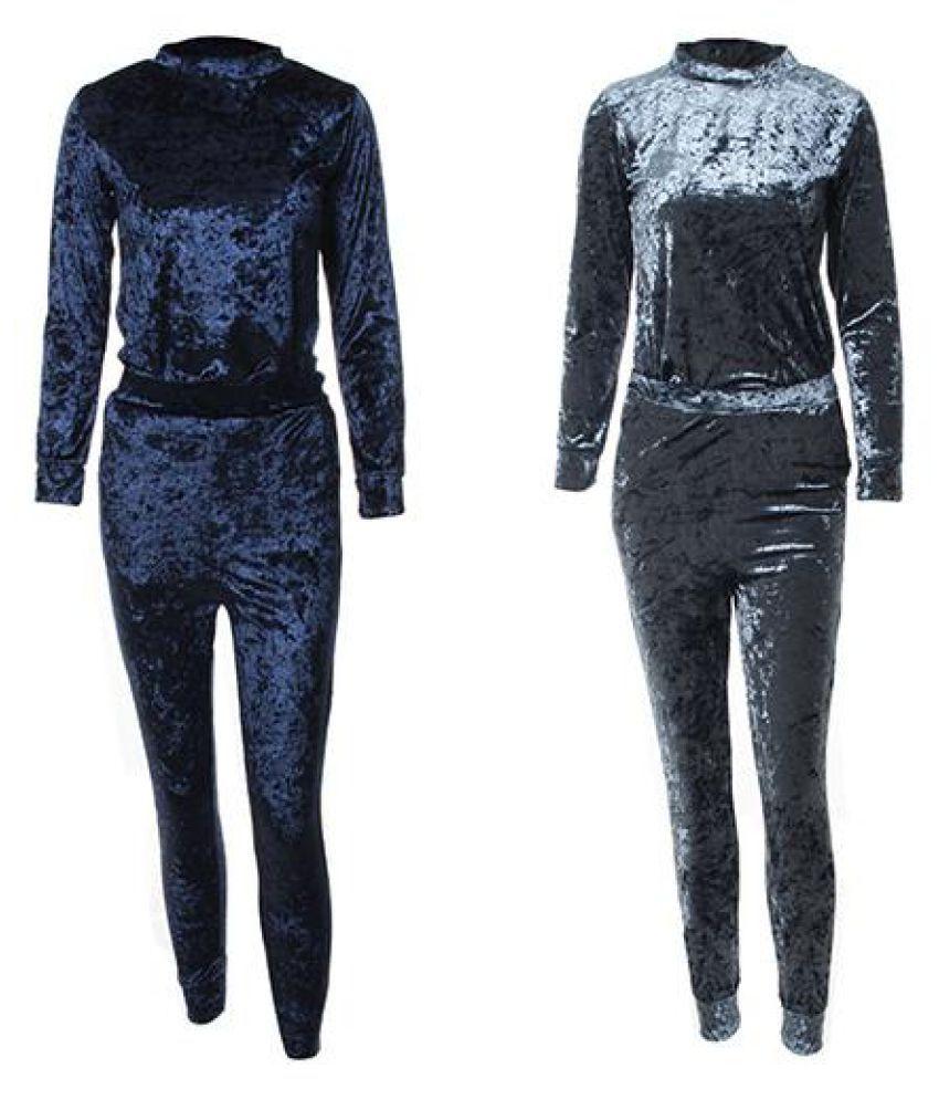bd42fc7674f78d ... Women Crushed Velvet Long Sleeve Top + Long Pants Jogging Loungewear  Tracksuit
