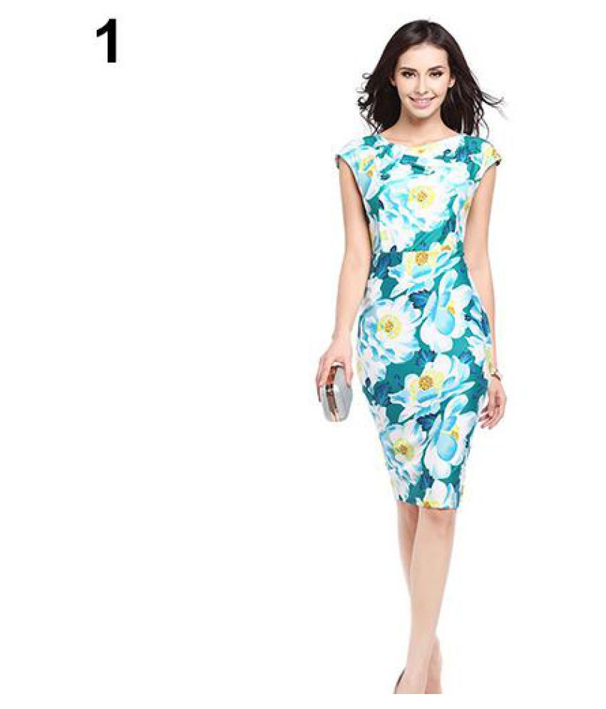 Women Sexy Sleeveless Slim Fit Bodycon Cocktail Party Knee-Length Pencil Dress