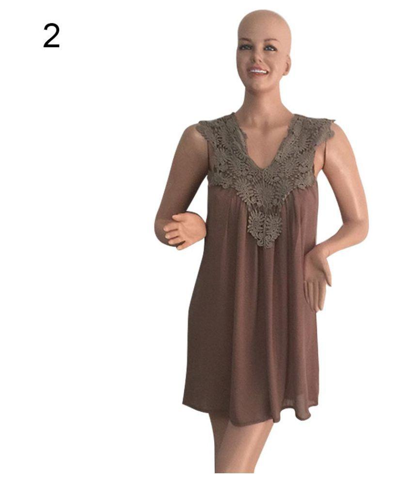 286ef87342e2 Women's Floral Lace Patchwork Chiffon Summer Loose Casual Tank Dress  Sundress - Buy Women's Floral Lace Patchwork Chiffon Summer Loose Casual  Tank Dress ...