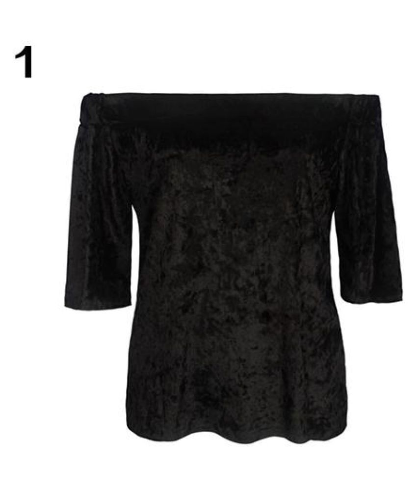 12c1df6c022a Buy Women s Sexy Off Shoulder Velvet Top Summer Stylish Loose Short Sleeve T -Shirt Online at Best Prices in India - Snapdeal