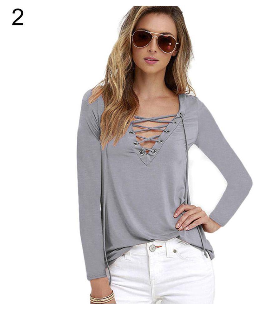 d8357f67985c4b Women Sexy Plain Deep V Neck Cross Eyelet Lace Up Long Sleeve Blouse Top  Shirt ...