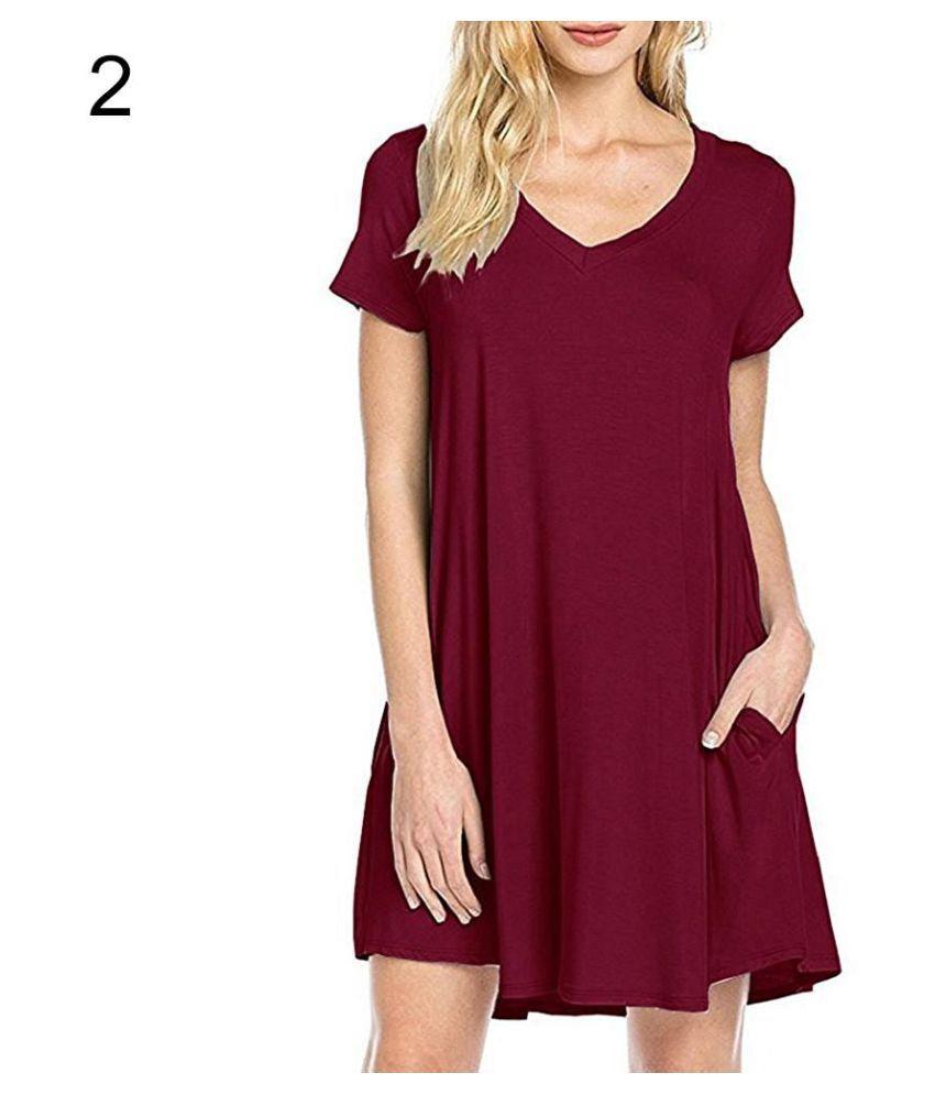 Women's Casual Simple Plain Side Pockets Summer Loose V-Neck T-shirt Dress
