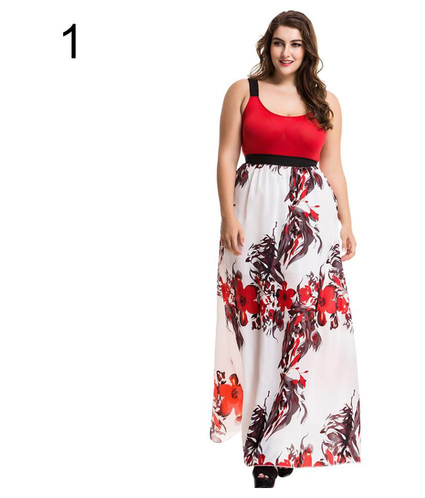 Women's Elegant Floral Print Sleeveless Plus Size Long Maxi Evening Party Dress