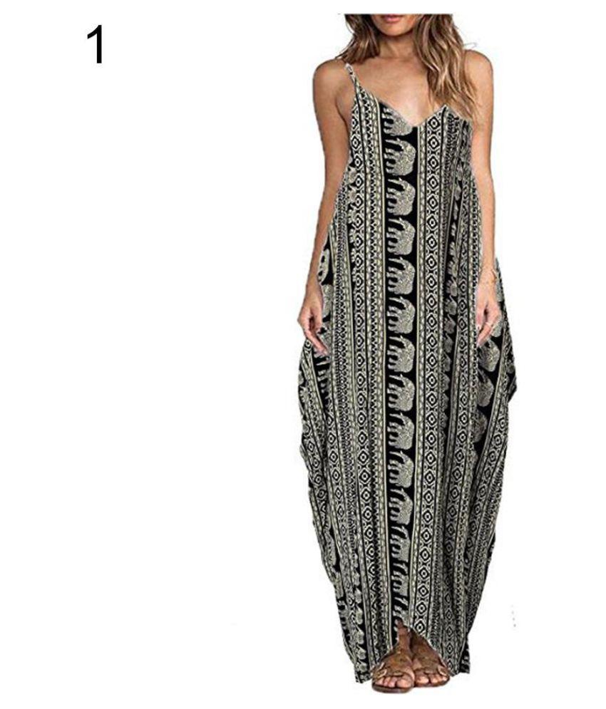 b080295838ea ... Women's Summer Beach Casual Loose Floral Print V-Neck Sleeveless Long  Maxi Dress ...