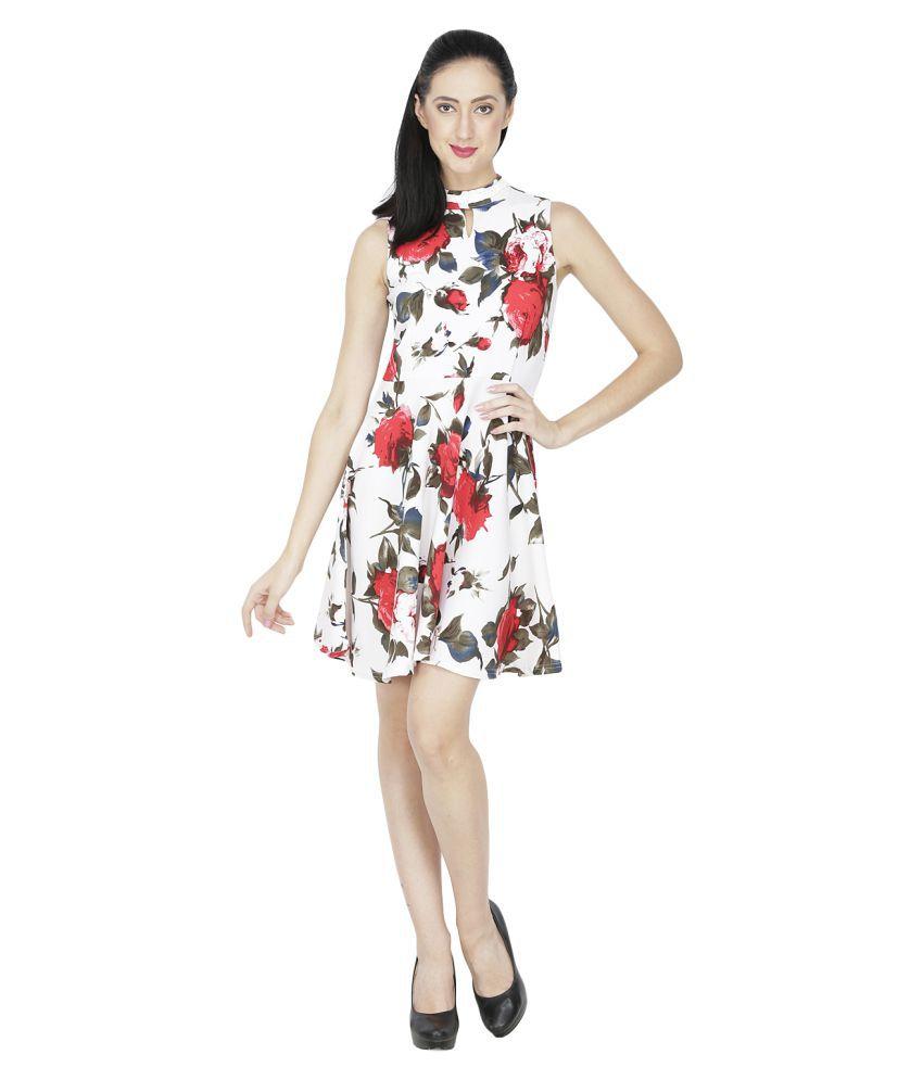 Ritu Designs Cotton Lycra White Regular Dress