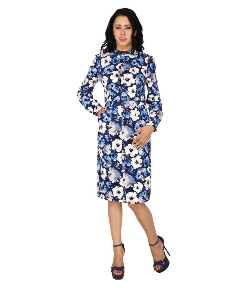 Ritu Designs Satin Blue Regular Dress