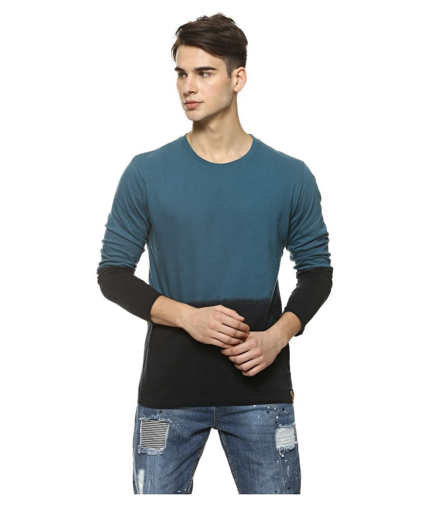 Campus Sutra Blue Full Sleeve T-Shirt Pack of 1