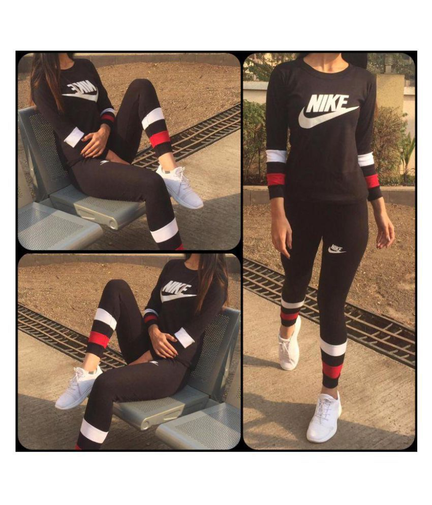 Nike Sports Cotton Tracksuits - Black