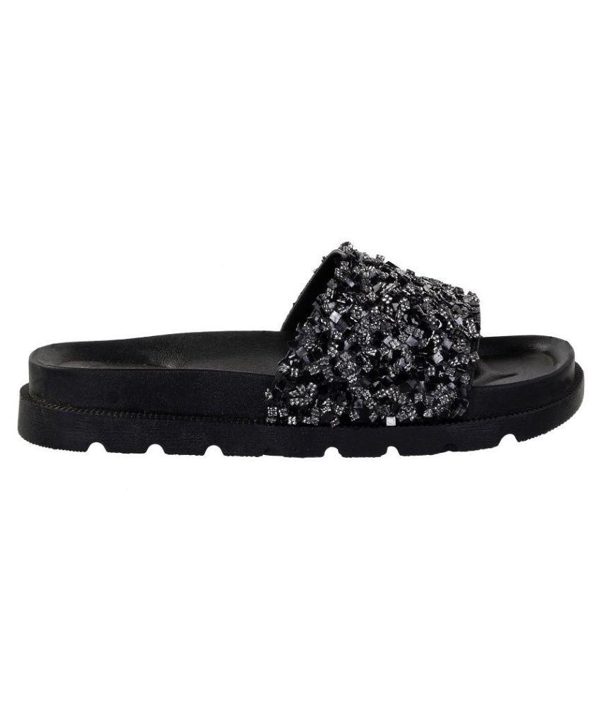 76c6c52ef Zappy Black Slides Price in India- Buy Zappy Black Slides Online at ...